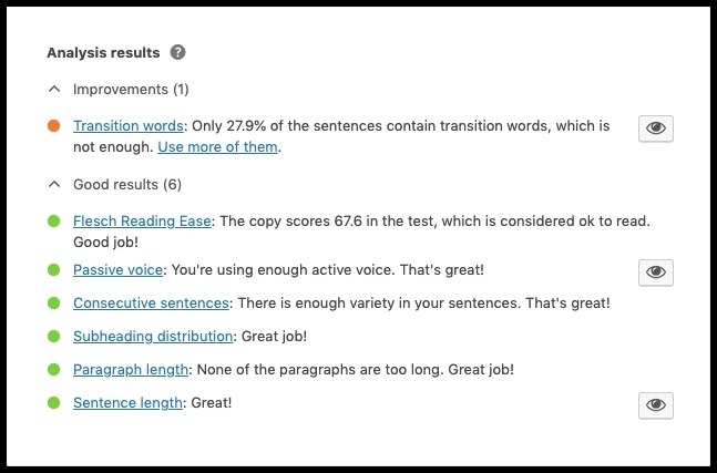 Readability analysis YOAST