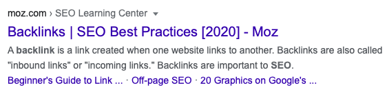 Google results showing clickable links